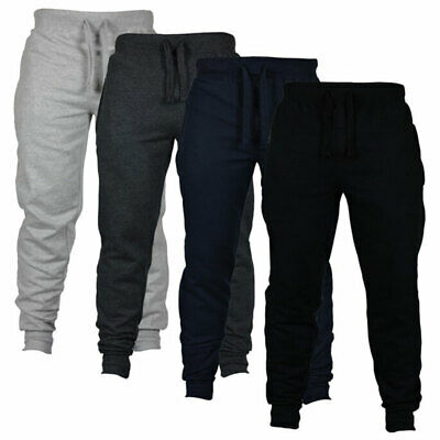 Men Casual Solid Trousers Jogger Bodybuilding Fitness Sport Wild Soft Long Pants
