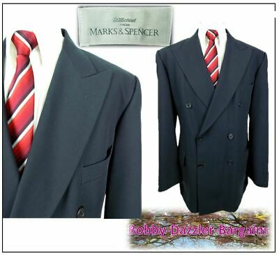 """M&S Vintage Double Breasted 2 piece mens suit Ch44""""R W38"""" L31"""" Dark Slate"""
