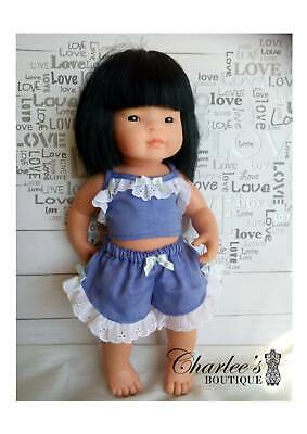 Miniland doll outfit 2pcs set Blue (MADE IN PERTH)