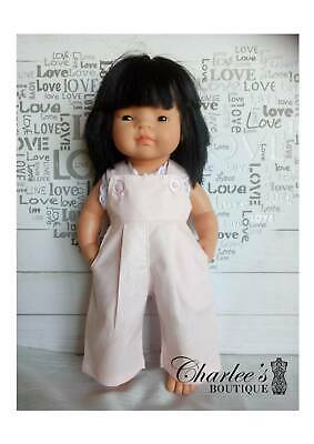 Miniland doll overal with matching singlet PINK (MADE IN PERTH)