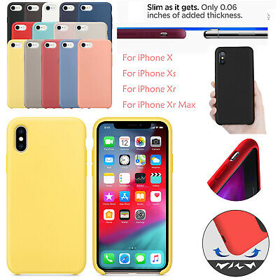 For iPhone 11 PRO MAX XS XR X Silicone Case Cover Soft Apple Liquid Ultra Thin