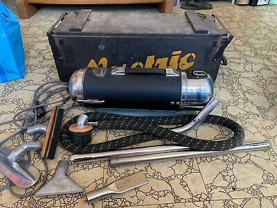 Vintage Vactric Vacuum Cleaner with Original Wooden Box and Accessories