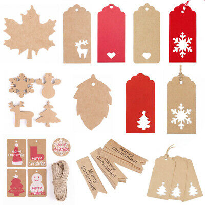 100x Red White Brown Kraft Paper Gift Tag Hang Label Blank Package Label Luggage