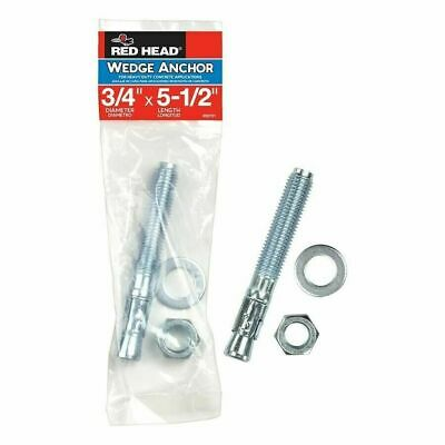 """RED HEAD 50701 WEDGE ANCHOR 3/4 """"  X 5-1/2  """" HEAVY DUTY CONCRETE Set of 4"""