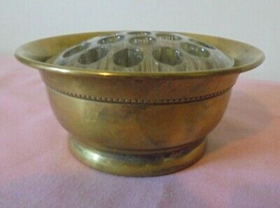 Rerto Silver Plate Falstaff Bowl With 19 Hole Glass Flower Frog