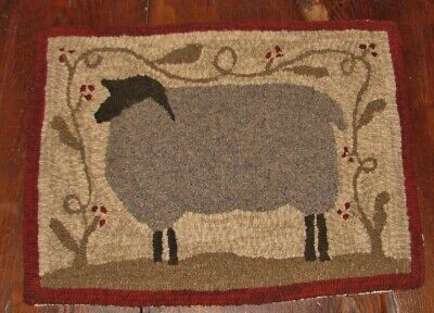 Primitive Hooked Rug Pattern On Monks ~ Farm Friends Series: Sheep