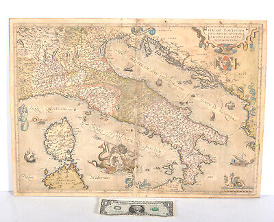 "Antique 1588 Map Italy Ortelius Jacabo Castaldo 20.375"" x 14.5"" Spanish Atlas"