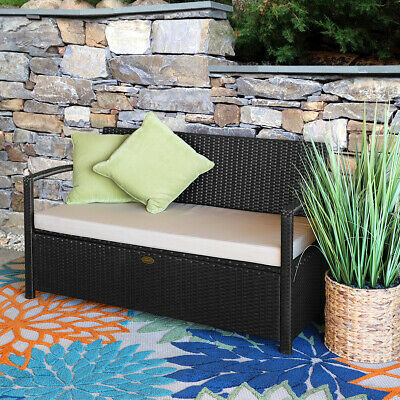 Brilliant Outdoor Patio All Weather Rattan Pool Deck Box Storage W Pabps2019 Chair Design Images Pabps2019Com