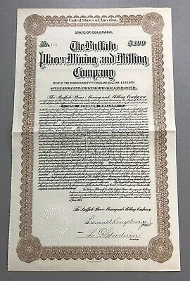 The Buffalo Placer Mining and Milling ~ 1913 Colorado $100 Gold Bond Certificate