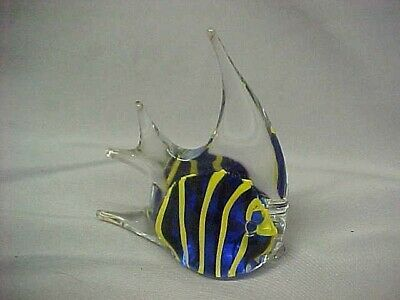 "Blown Glass Fish Yellow Navy & Clear Unsigned Large 4."" High Fish Exc Cond"