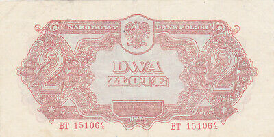 2 Zlote Vf Banknote From Poland 1944 Pick-109 Russian Red Army Issued