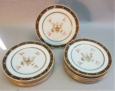 19th C. Set of 12 CHINESE EXPORT PRESIDENTIAL Plates w/ AMERICAN EAGLE  antique