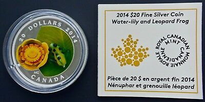 2014 Canada $20 1 oz. Silver Venetian Murano Glass Water-lily and Leopard Frog