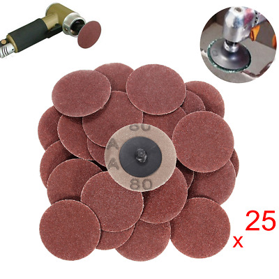 25pcs 2 Inch 80 Grit Roll Lock Sanding Discs with Holder R-Type Abrasive Tool