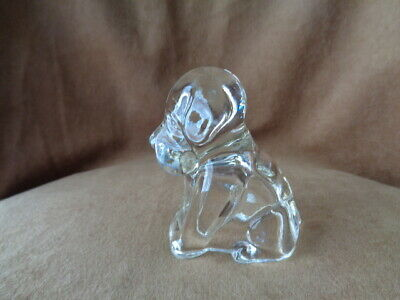 Vintage Sitting Dog Figure Pressed Clear Glass Candy