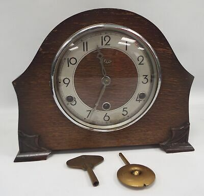 Vintage ELCO Wooden Mantle Clock With Perivale Movement - Spares/Repairs - H59