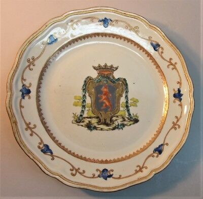 Fine CHINESE EXPORT Plate w/ Large Armorial Design of Lion  c. 1780   antique