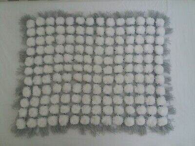 Handmade Baby Blanket White & Grey Pom Pom Design for a Boy or Girl
