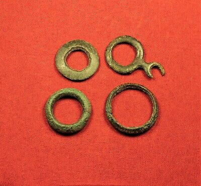 Lot of 4 Ancient Celtic Rings, Protomoneys
