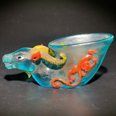 Old Chinese Vintage Handwork Blue Coloured Glaze Goat Head Collectible Wine Cup