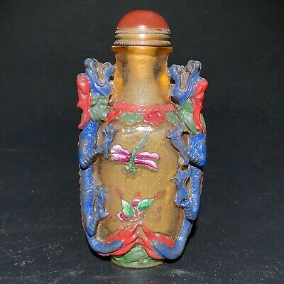 Old Chinese Coloured Glaze Handwork Emboss Double Dragon Vintage Snuff Bottle