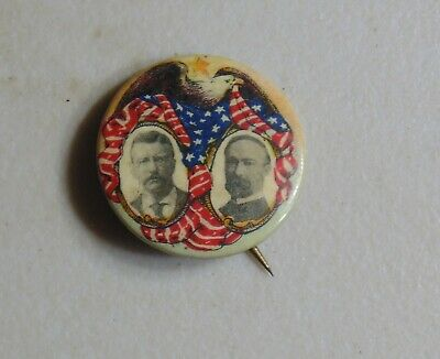 Theodore Roosevelt Fairbanks TR 1904 campaign pin button political