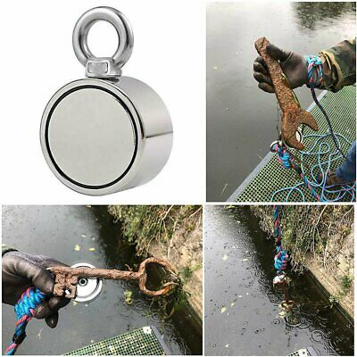 350 lbs 1.88 Inch Fishing Manget Super Strong Neodymium Round Double Sided Hook