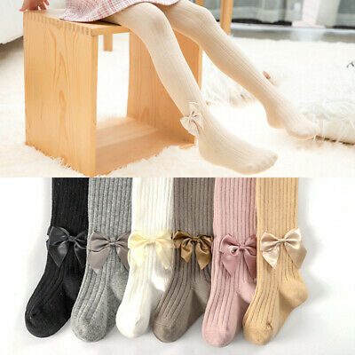 New Baby Girls Kids TIGHTS BOWS Spanish Style Opaque 0-8Years Socks Tights Decor