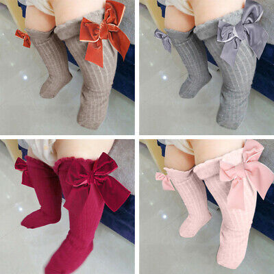Kids Toddlers Girls Big Bow Knee High Long Socks Soft Cotton Lace Baby Socks US
