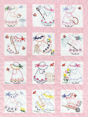 "Jack Dempsey Stamped White Nursery Quilt Blocks 9""X9"" 12/pkg-Girls"
