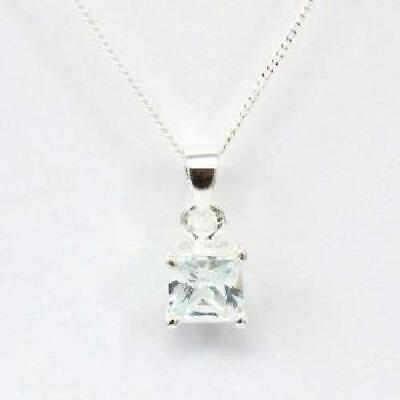 Toc Sterling Silver Clear Princess Cut Pendant on 18 Inch Chain
