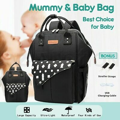 Waterproof Black Mother Mummy Baby Changing Bags Nappy Diaper Backpack Shoulder