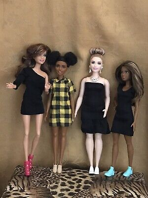 Fashionistas #75 Curvy  #80 Petite & 1997 Articulated Brunette 4 Barbie Dolls