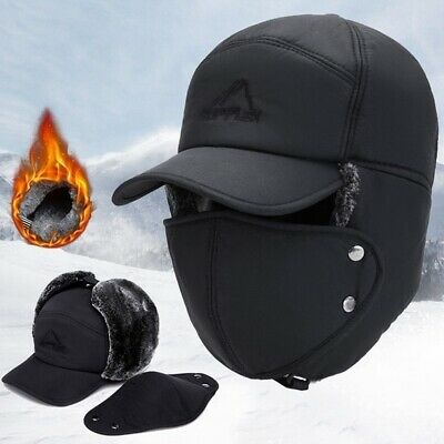 Men's Winter Hat Face Mask Windproof Snow Cap Thick Warm Casual Earmuffs Cap