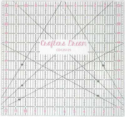 """Crafters Dream Transparent Quilting & Patchwork Ruler 12.5"""" x 12.5"""" CD125125"""