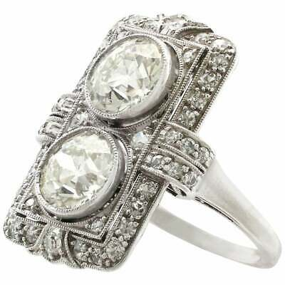 Vintage Antique Art Deco Two Stone Wedding Ring 3 Ct Diamond 925 Sterling Silver