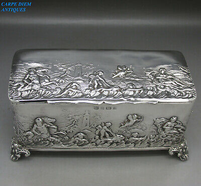 ANTIQUE ORNATELY EMBOSSED LARGE SOLID STERLING SILVER CASKET BOX 359g BIRM 1901