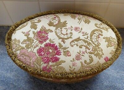 Vintage Small Oval Tapestry Footstool Shabby Chic