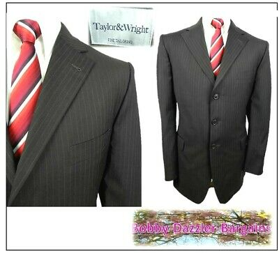 """Taylor & Wright Fine Tailoring 2 piece mens suit Ch42""""R W40"""" L28""""Brown Pinstripe"""