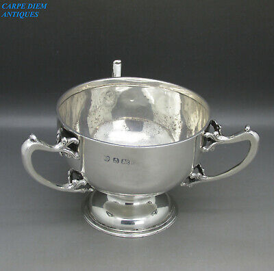 ANTIQUE GOOD SOLID STERLING SILVER 3 HANDLED LOVING CUP 208g BIRMINGHAM 1910