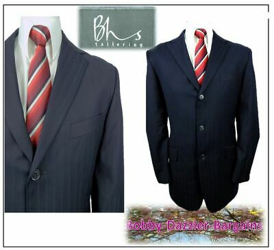 "BHS Tailoring 2 piece mens suit Ch42""R W34"" L30"" Navy self colour stripe"
