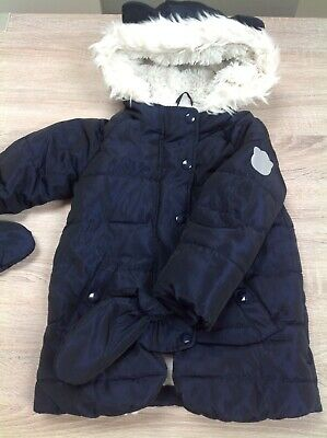 Marks & Spencer Girls Warm Fur Lined Coat Size 3-4 Yrs Navy with Detachable Mitt