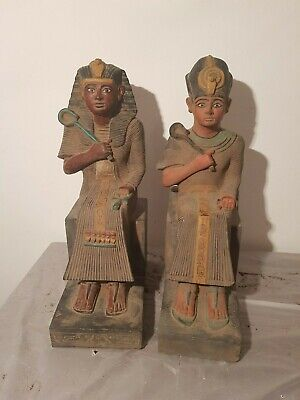 Rare Antique Ancient Egyptian 2 Statues king Ramses Museum peace &War1279–1213BC