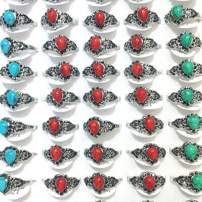 100ps Ancient Silver Heart Rhinestone Red Natural Turquoise Gemstone Rings Style