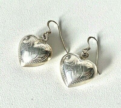 Antique STYLE Sterling Silver Engraved PUFF HEART Drop Dangle Earrings