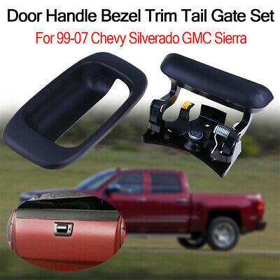 Tailgate Handle and Bezel SET Smooth Black for 99-06 Chevy GMC Silverado Sierra