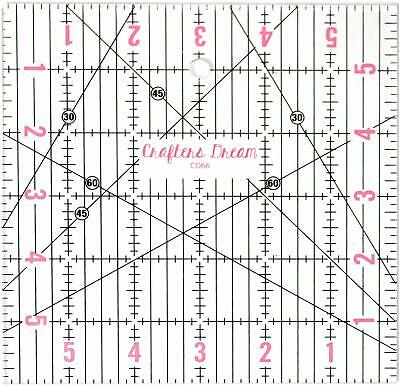 """Crafters Dream Transparent Quilting Patchwork Ruler Template 6"""" x 6"""" Craft CD66"""