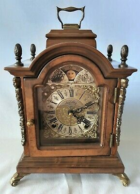 Warmink Mantel Clock Dutch TOP CONDITION 8 Day Key Wind Double Bell, Moon Dial