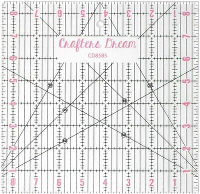 """Crafters Dream Transparent Quilting Patchwork Ruler Template 8.5"""" x 8.5"""" CD8585"""