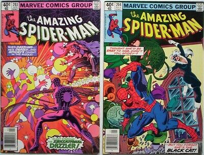 "Dated 1980. TWO x ""AMAZING SPIDER-MAN Marvel comics Vol.1 #'s 203 and 204. FINE-"